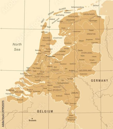 Canvas Print Netherlands Map - Vintage Vector Illustration