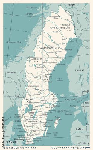 Wallpaper Mural Sweden Map - Vintage Vector Illustration
