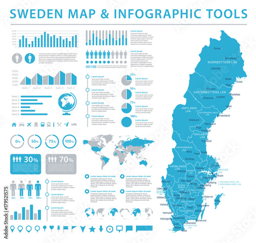Photo Sweden Map - Info Graphic Vector Illustration