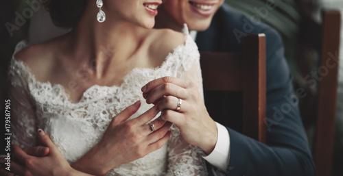 Obraz na plátne happy wedding, bride and groom together