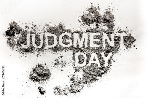 Canvas Print Judgment day word as apocalypse, catastrophe or cataclysm