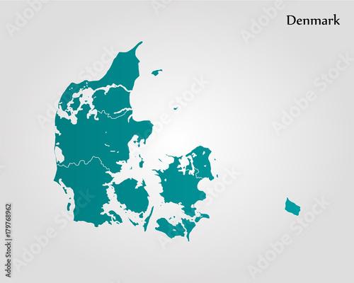 Canvas Print Map of Denmark