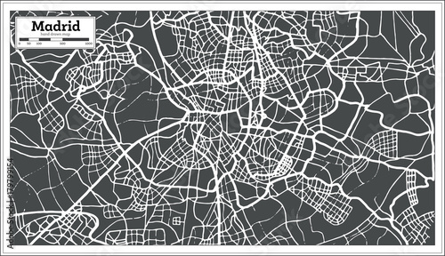 Photo Madrid Spain Map in Retro Style.