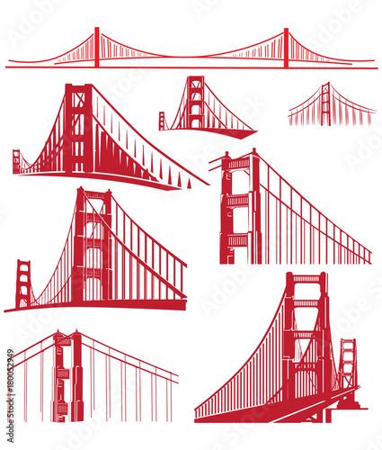Canvas Print Golden Gate Bridge Vector Illustration Pack
