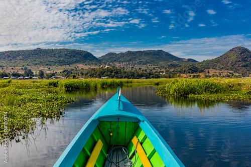 landscape view boat of the Inle Lake Shan state in Myanmar (Burma) Fototapeta