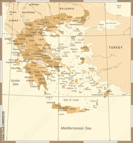 Wallpaper Mural Greece Map - Vintage Detailed Vector Illustration
