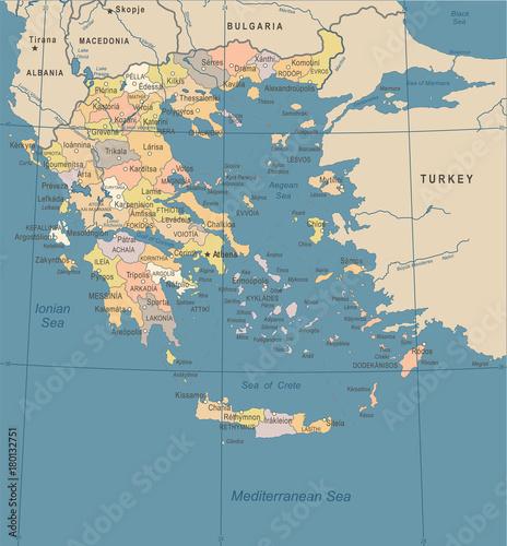 Photo Greece Map - Vintage Detailed Vector Illustration