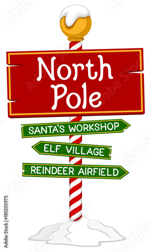 Stampa su Tela Vector illustration of a holiday sign for the North Pole.