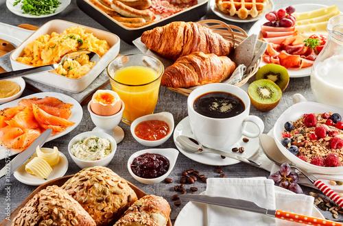 Huge healthy breakfast spread on a table Fototapet