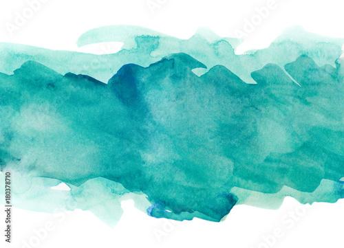 Fototapeta Aquamarine watercolor strip multilayered