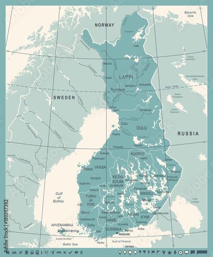 Photo Finland Map - Vintage Detailed Vector Illustration