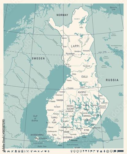 Canvas Print Finland Map - Vintage Detailed Vector Illustration