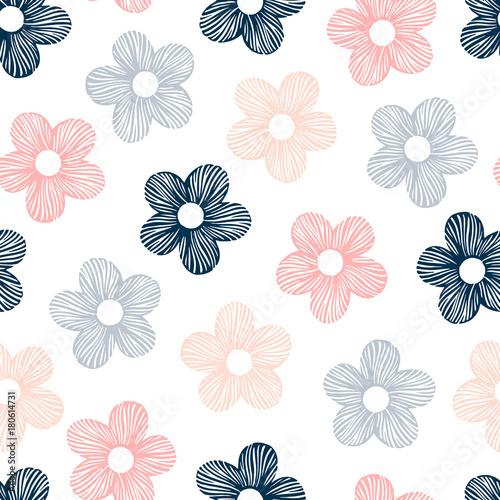 Wektorowy bezszwowy wzór z ręka rysującymi kwiatami.