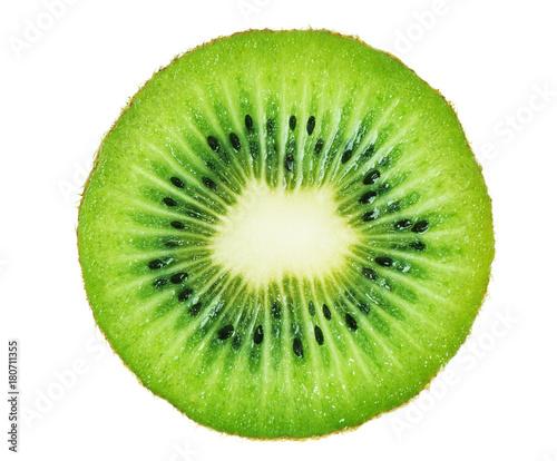 Obraz na płótnie Slice of kiwi fruit isolated on white background.