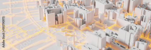 Fototapeta premium Techno mega city; koncepcje technologii miejskich i futurystycznych, oryginalny rendering 3d