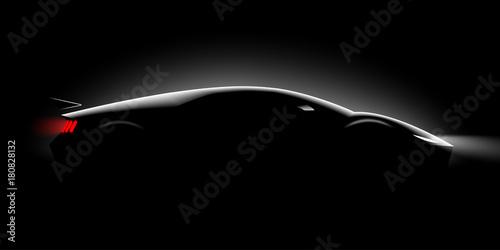 Fototapeta premium realistyczne sportowe super samochód coupe oświetlenie boczne w ciemności