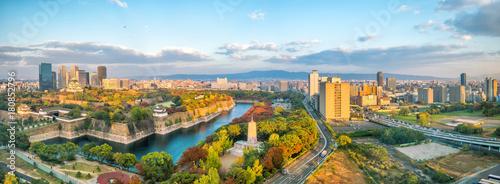Fototapeta premium Panoramę miasta Osaka w Japonii