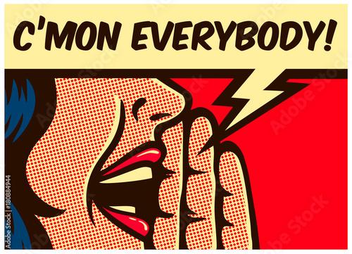 Fototapeta Dziewczyna komiksowa w stylu pop-art, wzywająca lub krzycząca głośno do biura