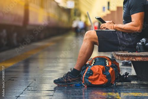 Obraz na plátně Digital nomad with backpack