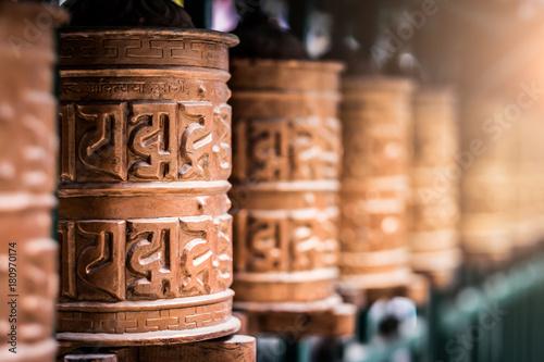 Canvas Print Closed up the prayer wheel at temple in Kathmandu, Nepal