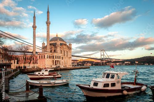 Fotografering Ortaköy Mosque and Bosphorus Bridge