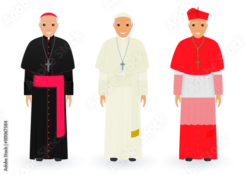 Obraz na płótnie Postacie papieża, kardynała i biskupa w charakterystycznych strojach stojących razem