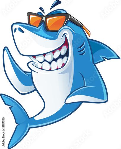 Fotografie, Obraz Smiling Shark Cartoon Mascot Character With Sunglasses