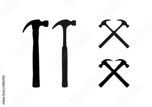 Canvas Print Cross Hammer Tool Illustration Logo Silhouette