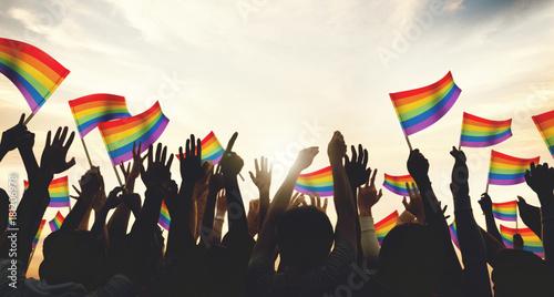 Canvas Print A crowd with LGBT rainbow flags