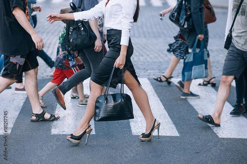 crosswalk urban lifestyle city rush hour crowd concept Poster Mural XXL