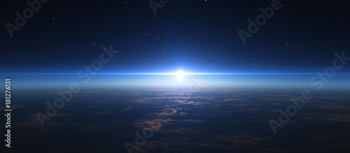 Tablou Canvas sunrise from space