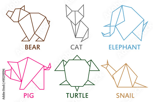 Origami animals collection. Set of line geometric shape for art of folded paper. Template for logo with - bear, cat, elephant, pig, snail and turtle. Vector illustration.