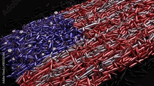Fotografie, Tablou USA Flag formed out of bullets