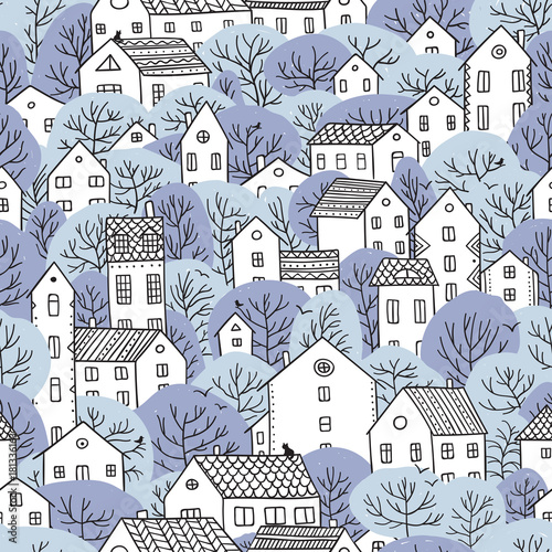 Plakat z wzorem domów i drzew