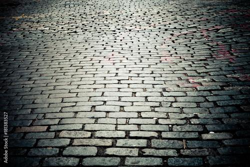 Fotografia, Obraz Old New York City cobblestone street texture
