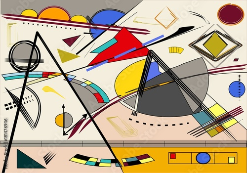 Abstract  light  background, fancy  geometric and curved shapes, expressionism art style