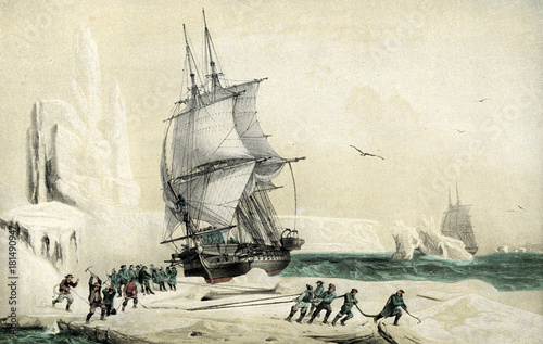 Photo Dumont d'Urville corvette Astrolabe directed to the magnetic South Pole trapped