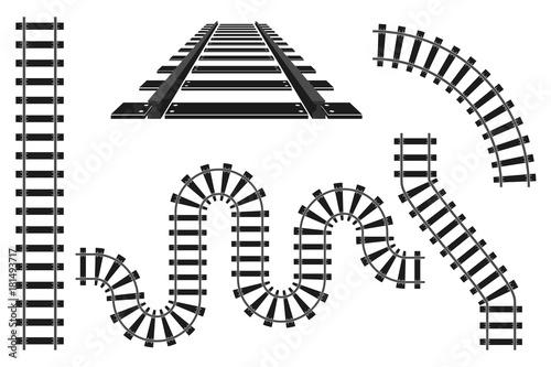 Obraz na płótnie Train railway road rails constructor elements vector illustration