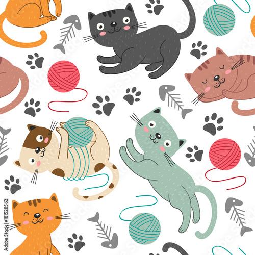 Plakat bezszwowy wzór z rozochoconymi kotami