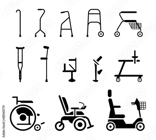 Leinwand Poster Set of icons that represent orthopedic equipment, wheelchair,crutches and mobility aids