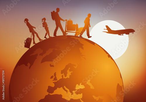 Fotografia, Obraz voyage - voyager - globe - famille - tourisme - touriste - voyageur - avion - aé