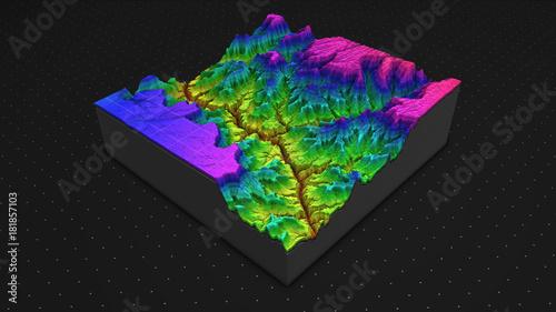 Fotografia, Obraz 3D render of geology, soil slice, mountains isolated on dark background