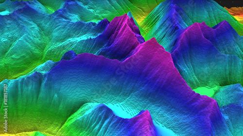 Fotografiet 3D render of geology, soil slice, mountains isolated on dark background