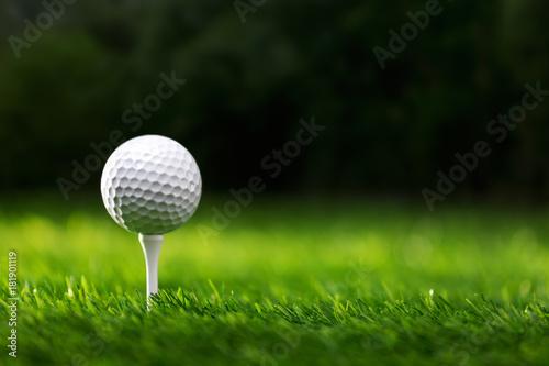 Fototapeta Golf ball on tee ready to be shot