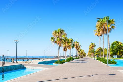 Obraz na plátně Beautiful sea promenade in Limassol, Cyprus