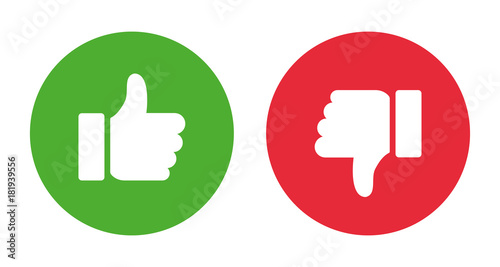 Valokuva Thumbs up and thumbs down.Stock vector