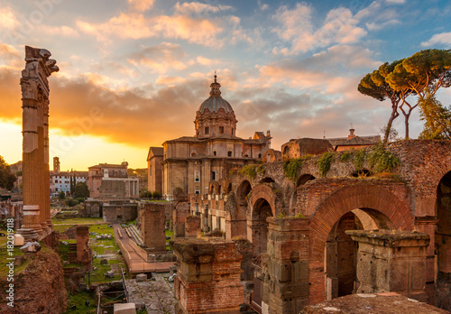Tela Rome and Roman Forum in Autumn (Fall) on a sunrise with beautiful stunning sky a