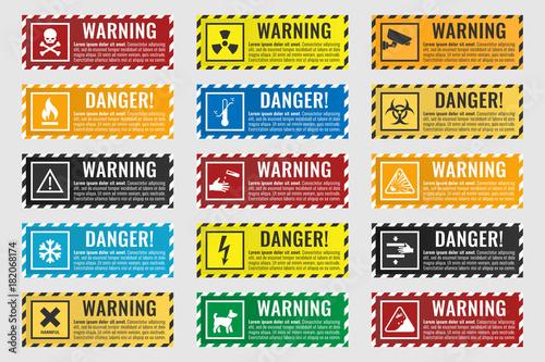 Obraz na plátně danger sign banner with warning text, vector illustration