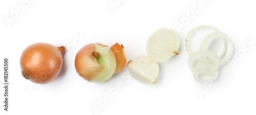 Fotografia Fresh raw onion on white background