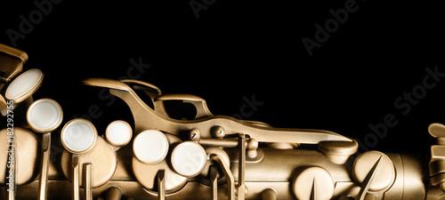 Fotografia Saxophone jazz instrument sax isolated on black background